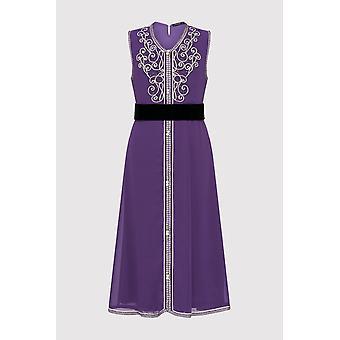 Kaftan aryame meisje ' s mouwloos gelegenheid slijtage partij jurk en taille gordel in paars (2-12yrs)