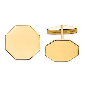 14k Yellow Gold Solid Polished Engravable Octagon Cuff Links Jewelry Gifts for Men - 8.0 Grams