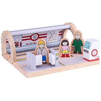 Bigjigs Rail Wooden Underground Station - Railway Train Set Accessories