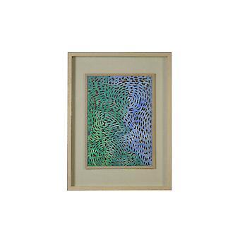 Swirling Blues y Greens Light Wood Shadowbox Wall Art