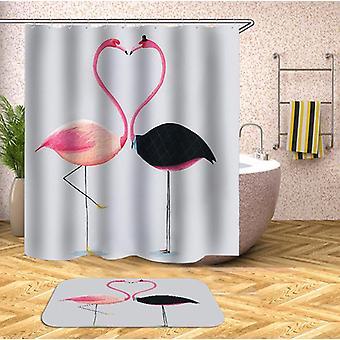 Heart Shape Flamingos Shower Curtain