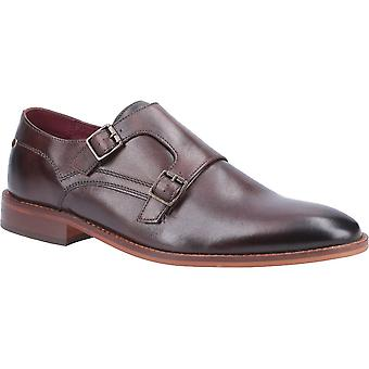 Base London Mens Montage Washed Leather Buckle Up Monk Shoes