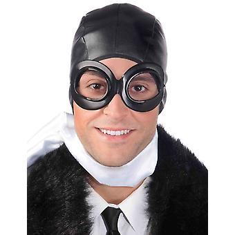 Lunettes de casque pilote d'aviateur ensemble hommes Hommes Kit de costume adulte