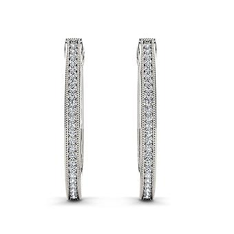 IGI Certified S925 Sterling Silver 0.15Ct Diamond Row Hoop Earrings I2