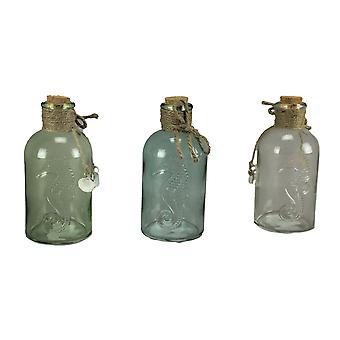 Blu verde chiaro vetro decorativo bottiglie seahorse design Coastal Decor Set di 3