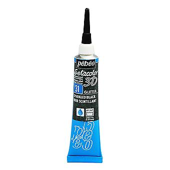 Pebeo Setacolor 3D Glitter Fabric Paint 20ml - 31 Sparkling Black