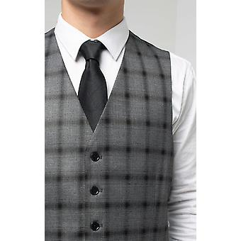 Dobell Mens Grey Waistcoat Regular Fit Black Multi-Stripe Windowpane Check