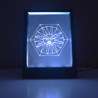 Sun on Hexagon Stained Glass effect Colour Changing RC LED Mirror Light Frame