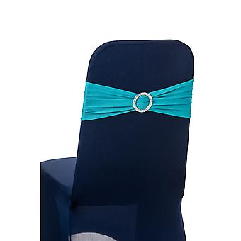 Turquoise Plain Stretchable Spandex Chair Sashes With Round Diamante Buckles