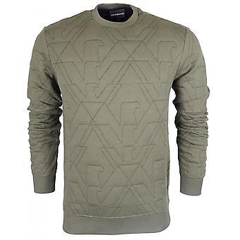 Emporio Armani ronde cou entier cousu Logo Sweatshirt kaki