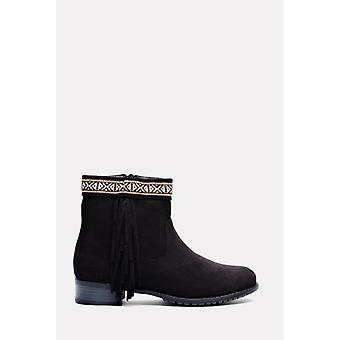 Tokyo Black Suede Aztec Fringe Ankle Boots