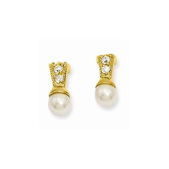 14k Gold Plated Post Earrings White Glass Pearl CZ Cubic Zirconia Simulated Diamond Earrings Jewelry Gifts for Women