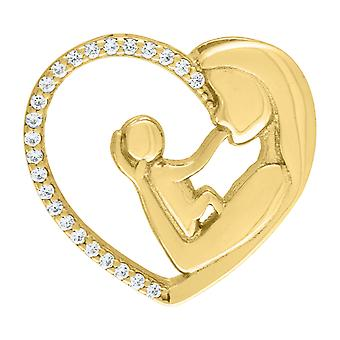 925 Sterling Silver Yellow CZ Cubic Zirconia Simulated Diamond Mother Child Love Heart 2.64gm Womens Charm Pendant Neckl