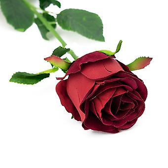 54cm Velvet Style Artificial Rich Red Rose Bud - Fabric Flowers - Floristry & Weddings