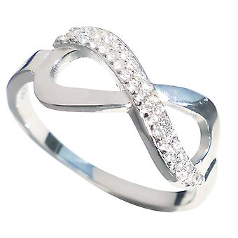 Ah! Gioiello Pave Set Sterling Silver Infinity Ring, Timbro 925
