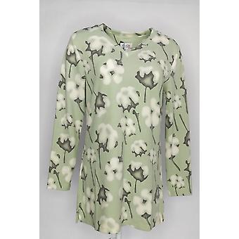 Denim & Co. Kvinner & Apos;s Topp børstet himmelsk Jersey langermet grønn A346284