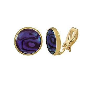 Eternal Collection Symphony Purple Paua Shell Gold Stud Clip On Earrings