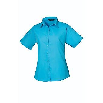 Premier Short Sleeve Poplin blouse pr302 blauwe tinten