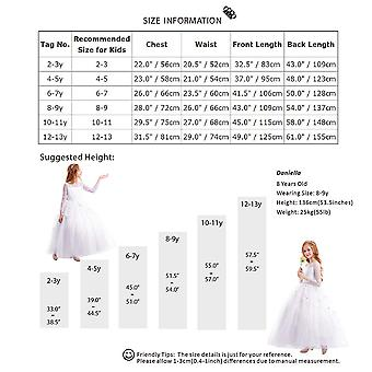 FYMNSI Flower Girls Lace Appliques First Communion, # White, Size 12-13 Years