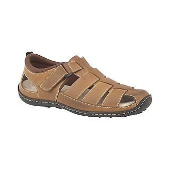 Roamers Brown Leather Touch Fastening Closed Toe Sandal