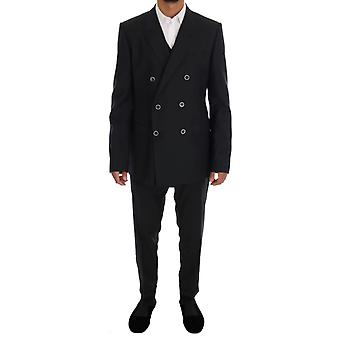 Dolce & Gabbana Gray Martini Wol Zijde Slim Fit Pak