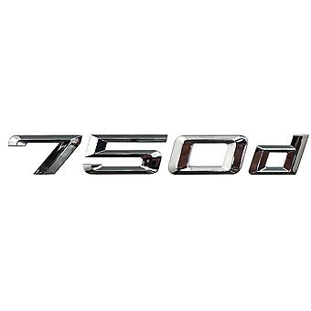 Silver Chrome BMW 750d Car Badge Emblem Model Numbers Letters For 7 Series E38 E65 E66E67 E68 F01 F02 F03 F04 G11 G12
