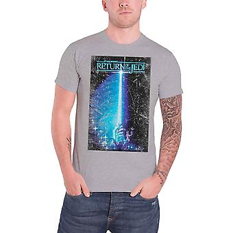 Star Wars Mens T Shirt Grey Return of the Jedi Saber Official Distressed