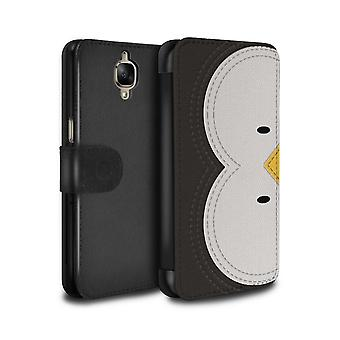 STUFF4 PU Leather Wallet Flip Case/Cover for OnePlus 3/3T/Penguin/Animal Stitch Effect