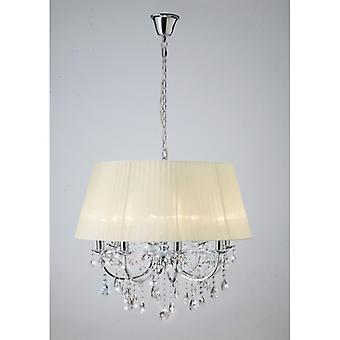 Olivia Pendant avec crème ivoire Shade 8 Light Polished Chrome/crystal