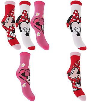 Disney Minnie egér Childrens Girls hivatalos mintás zokni (Pack 3)
