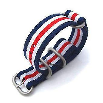 Strapcode n.a.t.o watch strap miltat 20mm zulu military watch strap ballistic nylon armband, brushed - blue, white, red