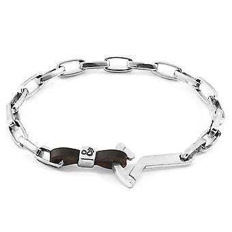 Ancre et équipage Dark Brown Frgate Anchor Silver And Flat Leather Bracelet
