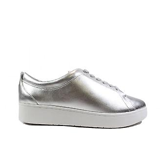 Fitflop Rally Silver Leather Womens Lace Up Casual Trainers