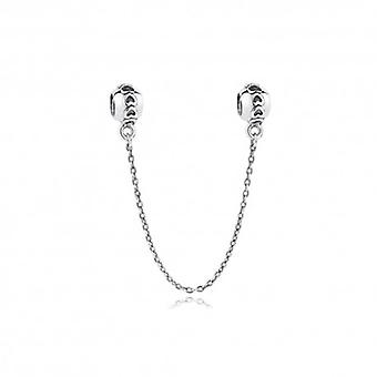 Sterling Silver Safety Chain Charm With Hearts - 5369