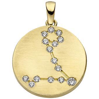 Ladies riipus horoskooppi kala 333 kulta keltainen kulta matt 15 kuutio zirkonia