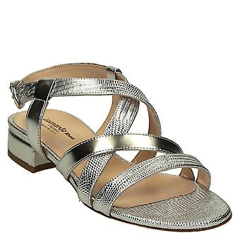 Women's low heels silver metallic leather strappy sandals