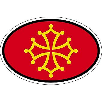 Stick pegatina oval oval bandera código país occita occitanie