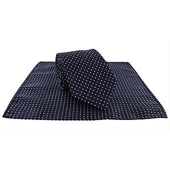 Michelsons van Londen Spot Polyester Tie en zak plein Set - Navy/wit