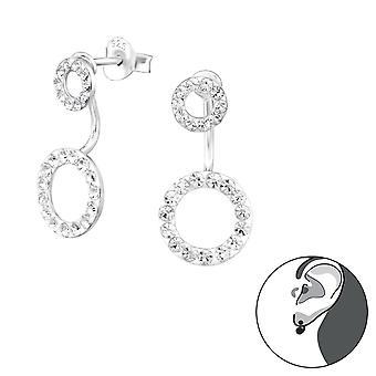 Круг - 925 стерлингового серебра уха куртки & двойной серьги - W38304x