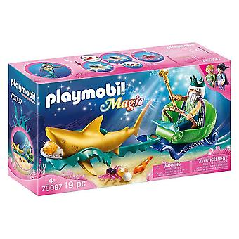 playmobil 70097 magic king of the sea with shark carriage playset 19pcs for ages