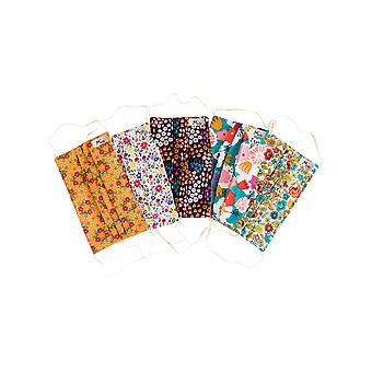 Mio SB5PK Summer Bloom Multi Floral Cotton 5 Pack Face Masks Set with Removable Nose Wire