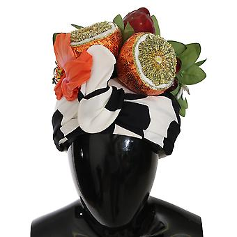 Dolce & Gabbana Silk Scarf Wrap Fructe Crystal Headwear Turbane SMYK484