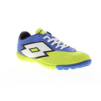 Lotto Gravity V 700TF  Mens Green Leather Lace Up Athletic Soccer Shoes
