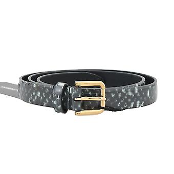 Dolce & Gabbana Black White Pattern Leather Gold Buckle Belt BEL50032-5