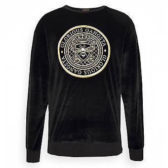 Glorious Gangsta Mareno Black Velour Crew Neck Sweatshirt