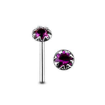 Flower Set Jewel Straight Nose Pin