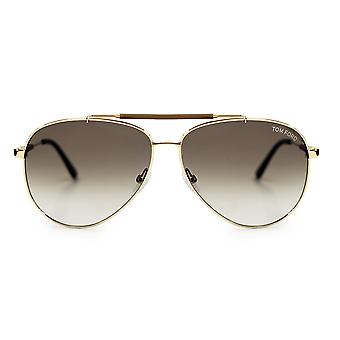 Tom Ford Rick Gold and Brown Aviator Sunglasses FT0378 28J 62
