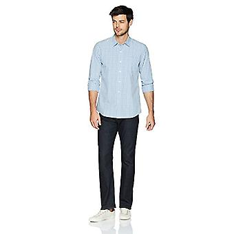 Goodthreads Men's Standard-Fit Long-Sleeve Plaid Poplin Shirt, Blue, Small