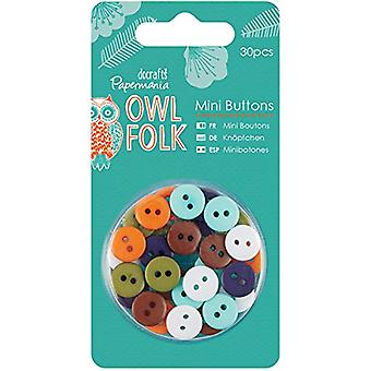 Papermania Owl Folk Mini Buttons 30/Pkg-