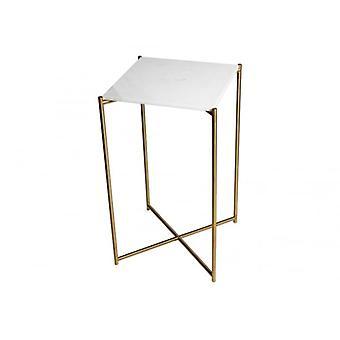 Gillmore mesa de lámpara cuadrada de mármol blanco con base de cruz de latón